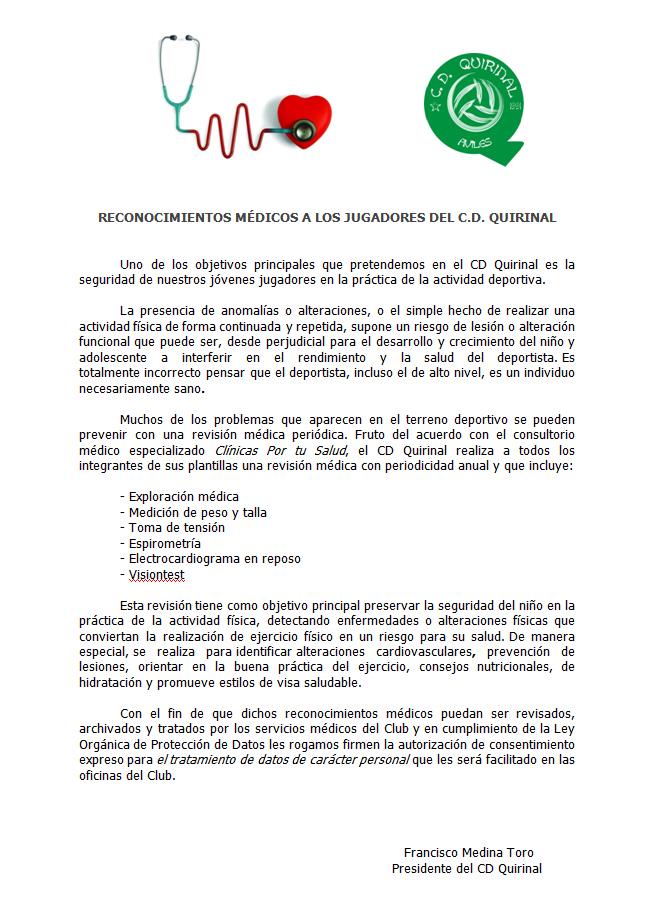 Reconocimientos Médicos de nuestros jugadores en Clínicas Por Tu ...